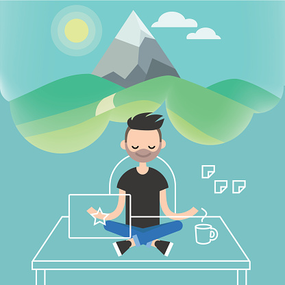 dealing with stress young character meditating in lotus