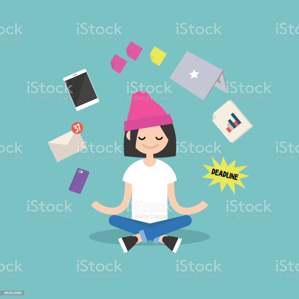 Dealing with stress. Young girl meditating with closed eyes in lotus pose surrounded by floating gadgets. Yoga and meditation / flat editable vector illustration, clip art vector art illustration