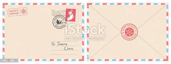 Dear santa claus mail envelope. Christmas surprise letter, child postcard with north pole postmark cachet. Postage surprised correspondence envelope, letters blank vector illustration