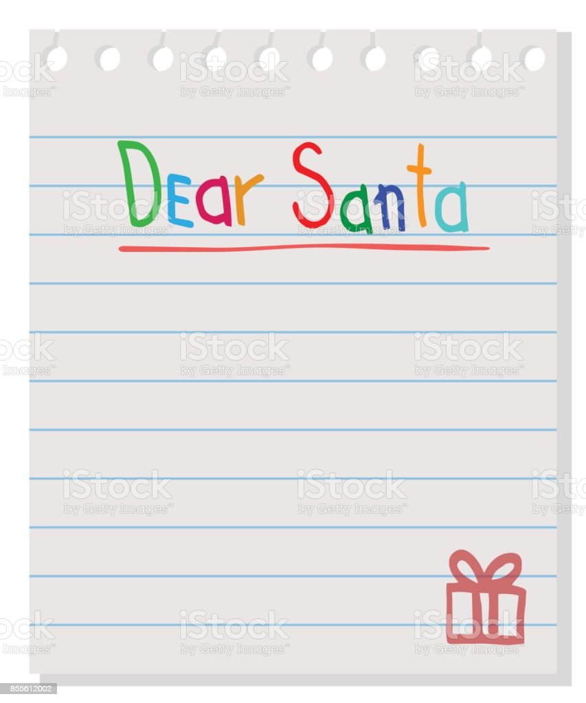 Dear Santa Letter To Santa Claus Vector Wishlist Design Layout Stock