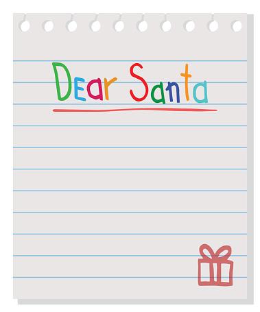 Dear Santa - letter to Santa Claus. Vector wishlist design layout. clipart