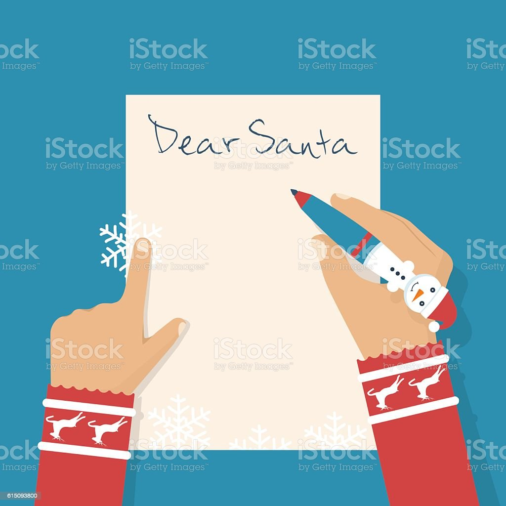 Dear Santa letter. vector art illustration