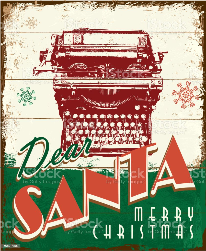Ecrire Sur Panneau Bois dear santa vintage design avec panneau en bois ancien peint