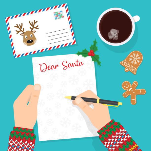 lieber weihnachtsmann. schreiben brief an den weihnachtsmann - wunschkinder stock-grafiken, -clipart, -cartoons und -symbole