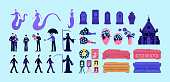 Death and funeral flat color vector objects set