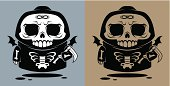Death angel with a scythe in cartoon style (two and one color variants).