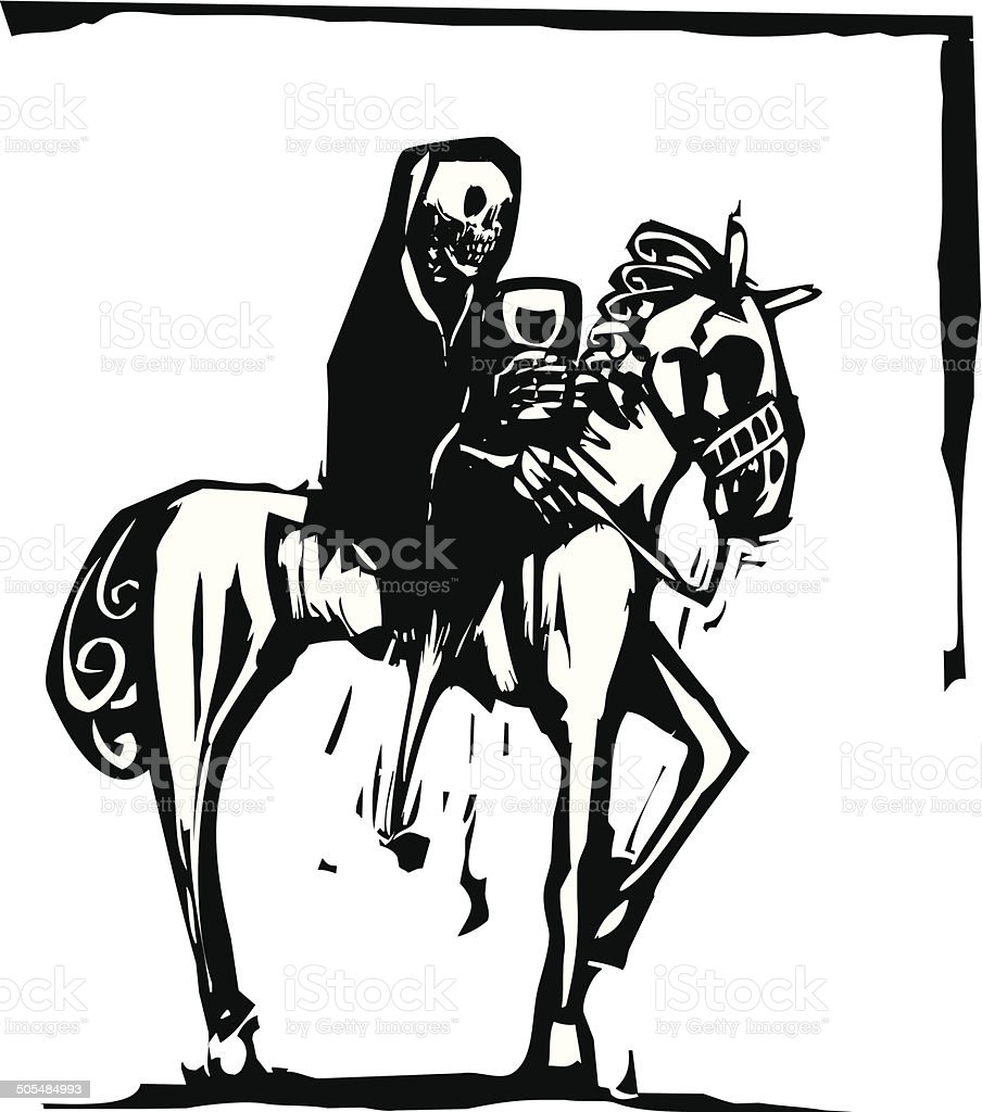 Death Drinking Wine On Horse Stock Illustration Download Image Now Istock