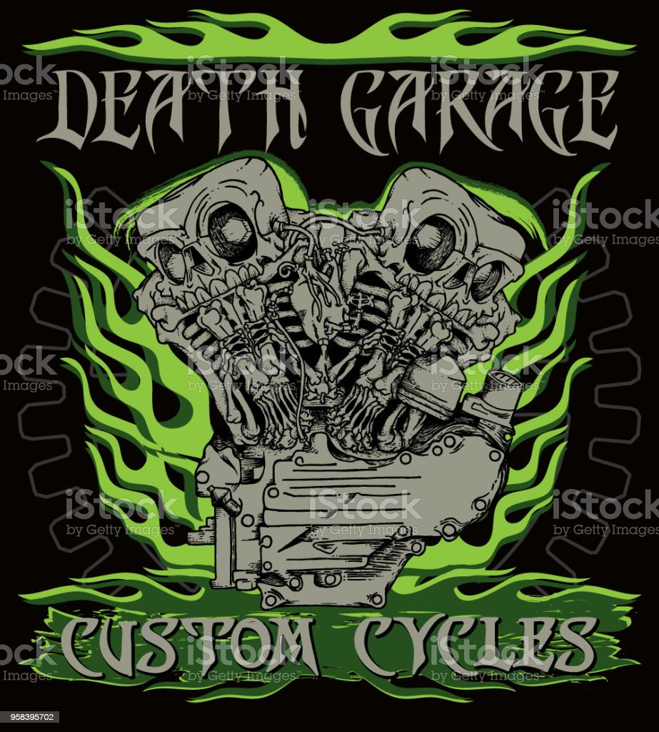 'Death garage custom cycles' poster. vector art illustration