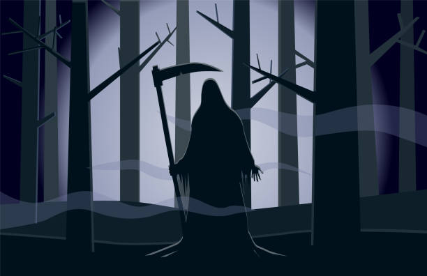 Death in the dark forest vector vector art illustration