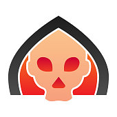 istock Death line icon. Grim reaper skull, creepy demon face in hood. Halloween party vector design concept, outline style pictogram on white background. 1212053868