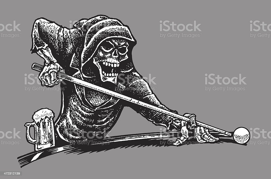 Death Or Grim Reaper Playing Pool Skeleton Stock Vector