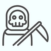 Death person line icon. Stranger in a coat with scytche. Halloween vector design concept, outline style pictogram on white background, use for web and app. Eps 10