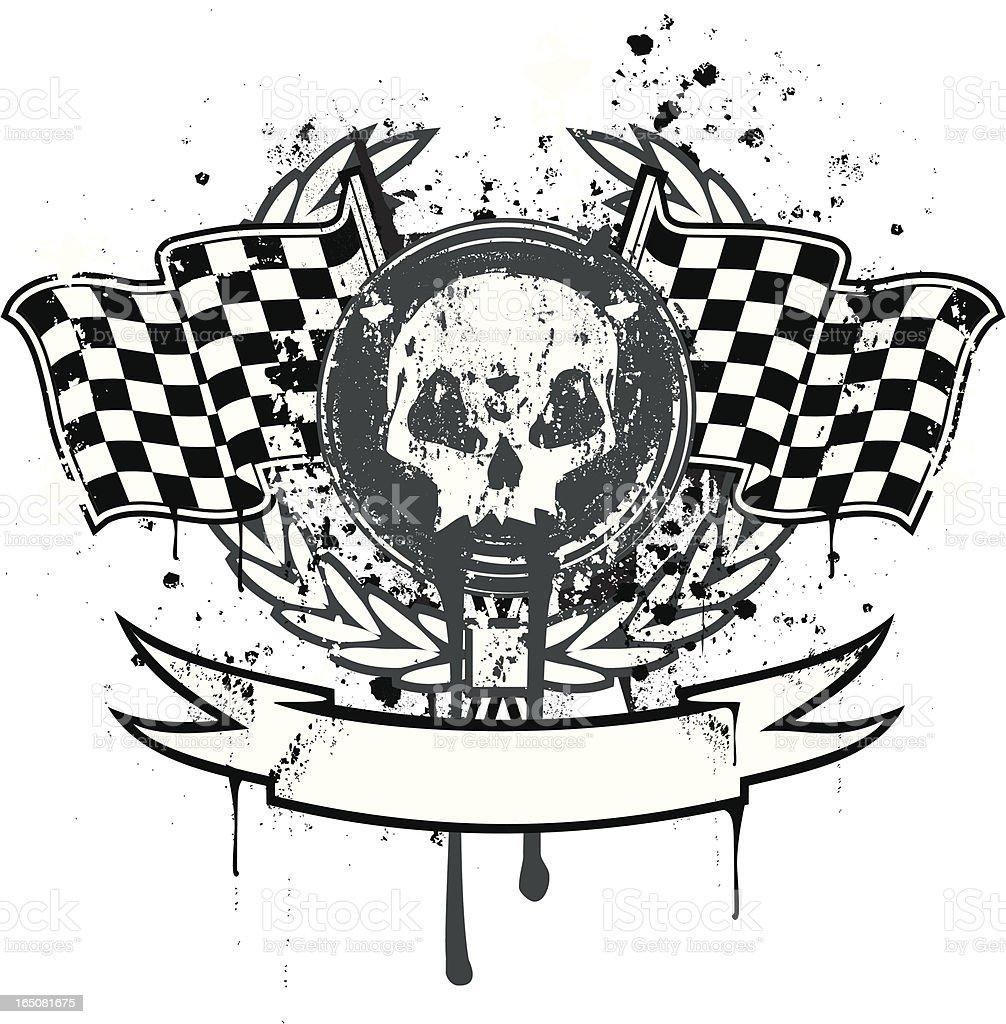 Death race emblem vector art illustration