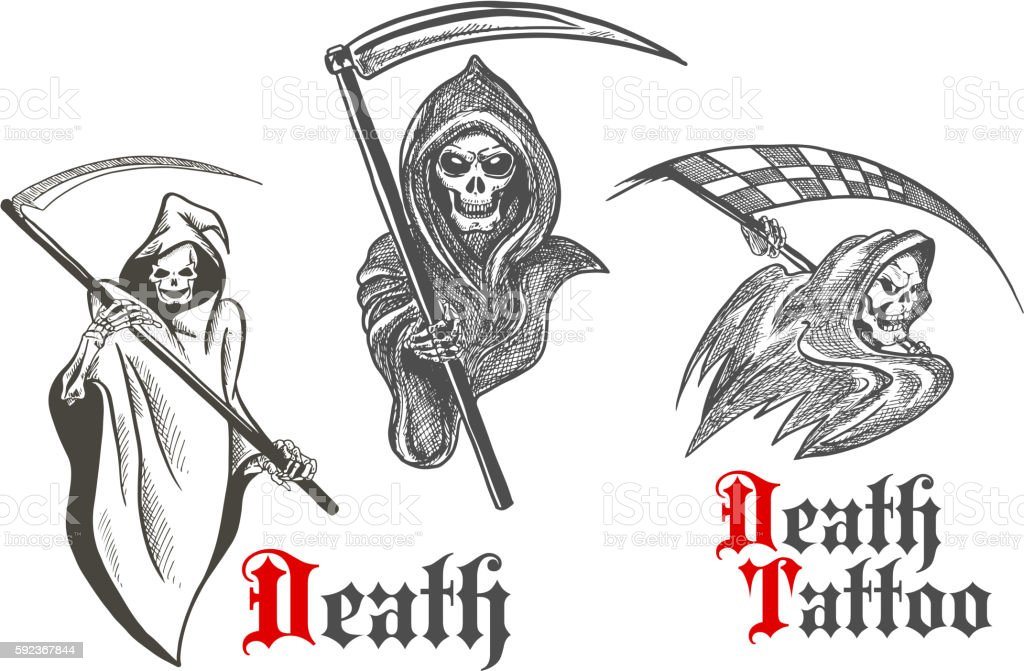 Death Tattoo Design With Sketched Grim Reapers Stock Vector Art