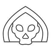 istock Death thin line icon. Grim reaper skull, creepy demon face in hood. Halloween party vector design concept, outline style pictogram on white background. 1209302880