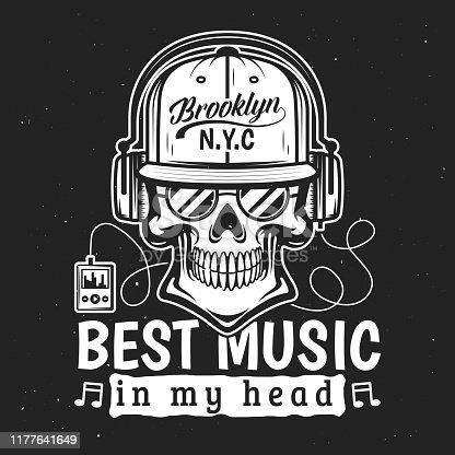 Death t-shirt print, skull listening to music