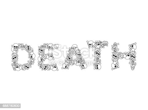 Death Typography Letters From Bones Anatomy Lettering Skull And Spine Jaw Pelvis Stock Vector Art More Images Of Alphabet 688780830