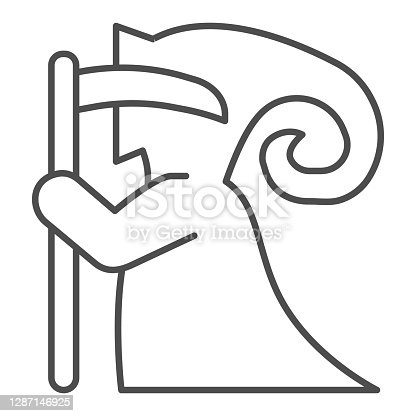 Death with scythe sideways thin line icon, halloween concept, grim reaper sign on white background, scytheman icon in outline style for mobile concept and web design. Vector graphics