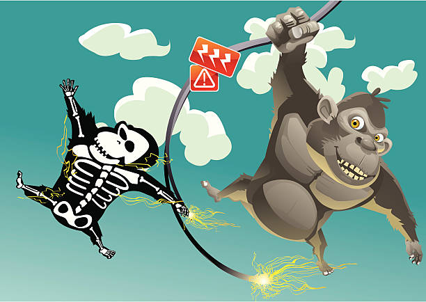 Deathly Swing 2 apes are swing on a broken high voltage wire and 1 is dead deathly stock illustrations