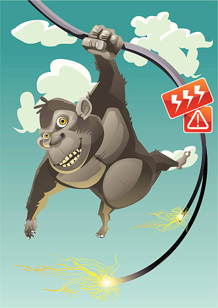 Deathly Swing An ape is swinging itself on a broken high voltage electric cable deathly stock illustrations