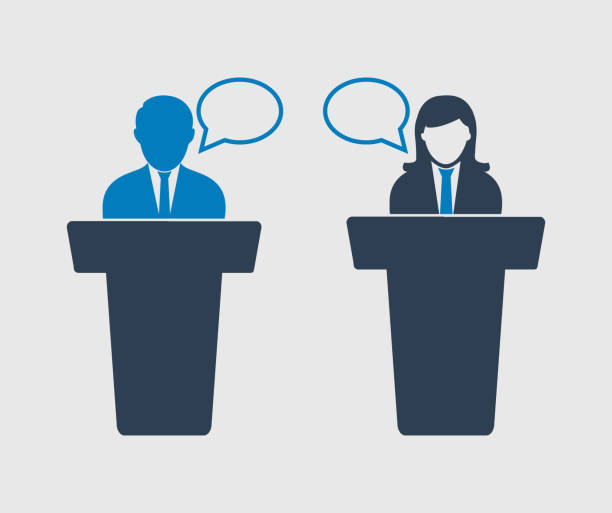 Debate  between male and female Icon on gray background Debate  between male and female Icon on gray background debate stock illustrations