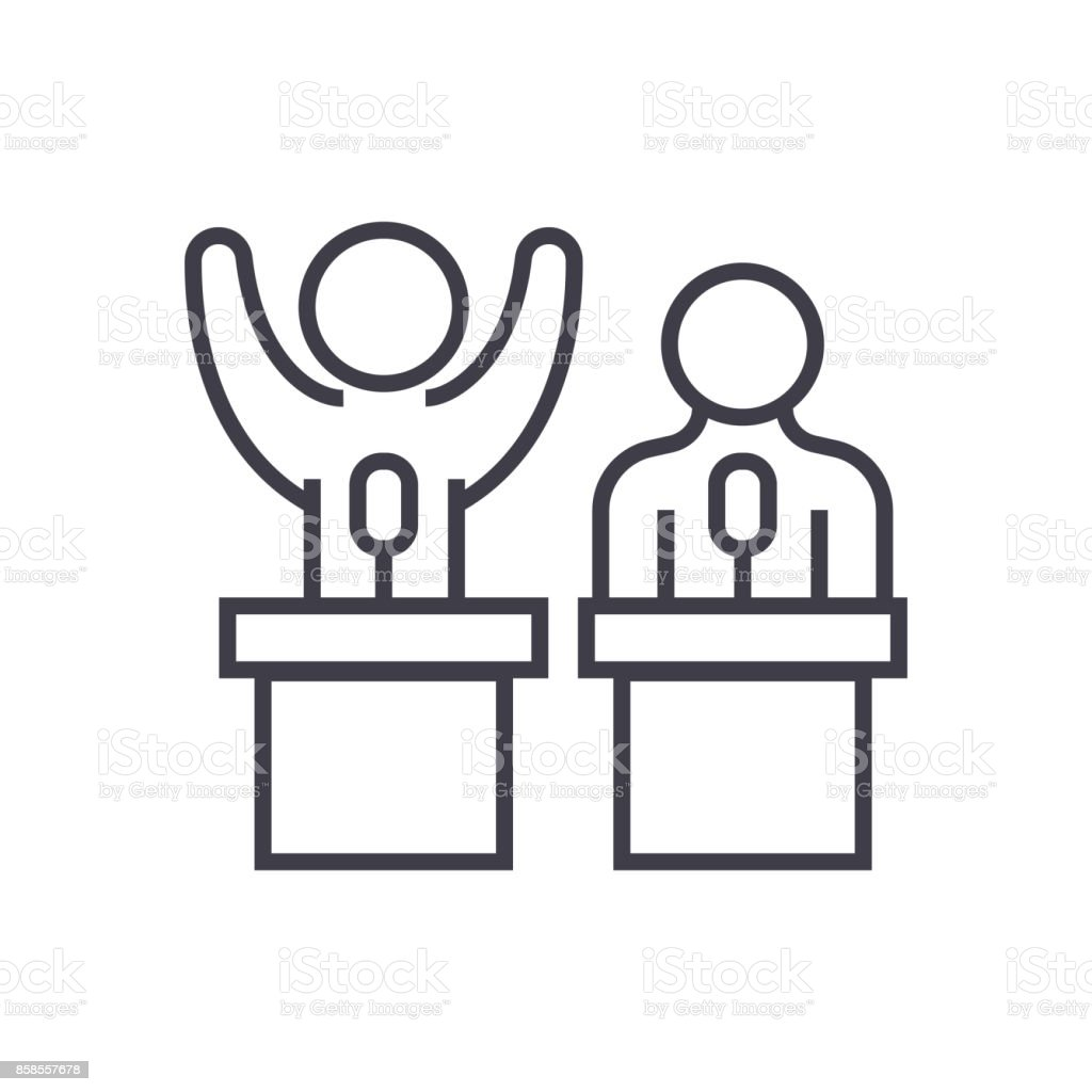 debates,lecture,cogency,persuasion vector line icon, sign, illustration on background, editable strokes vector art illustration