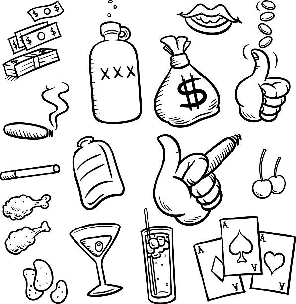 Debaucherous Fun Sketches or 'doodles' symbolizing a depraved existence. Booze, money, ladies, cards, chicken wings... they're all there. It's vector line art. drawing of a glass liquor flask stock illustrations