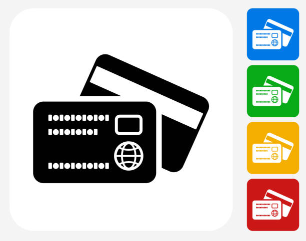 debit and credit cards icon flat graphic design - credit cards stock illustrations, clip art, cartoons, & icons