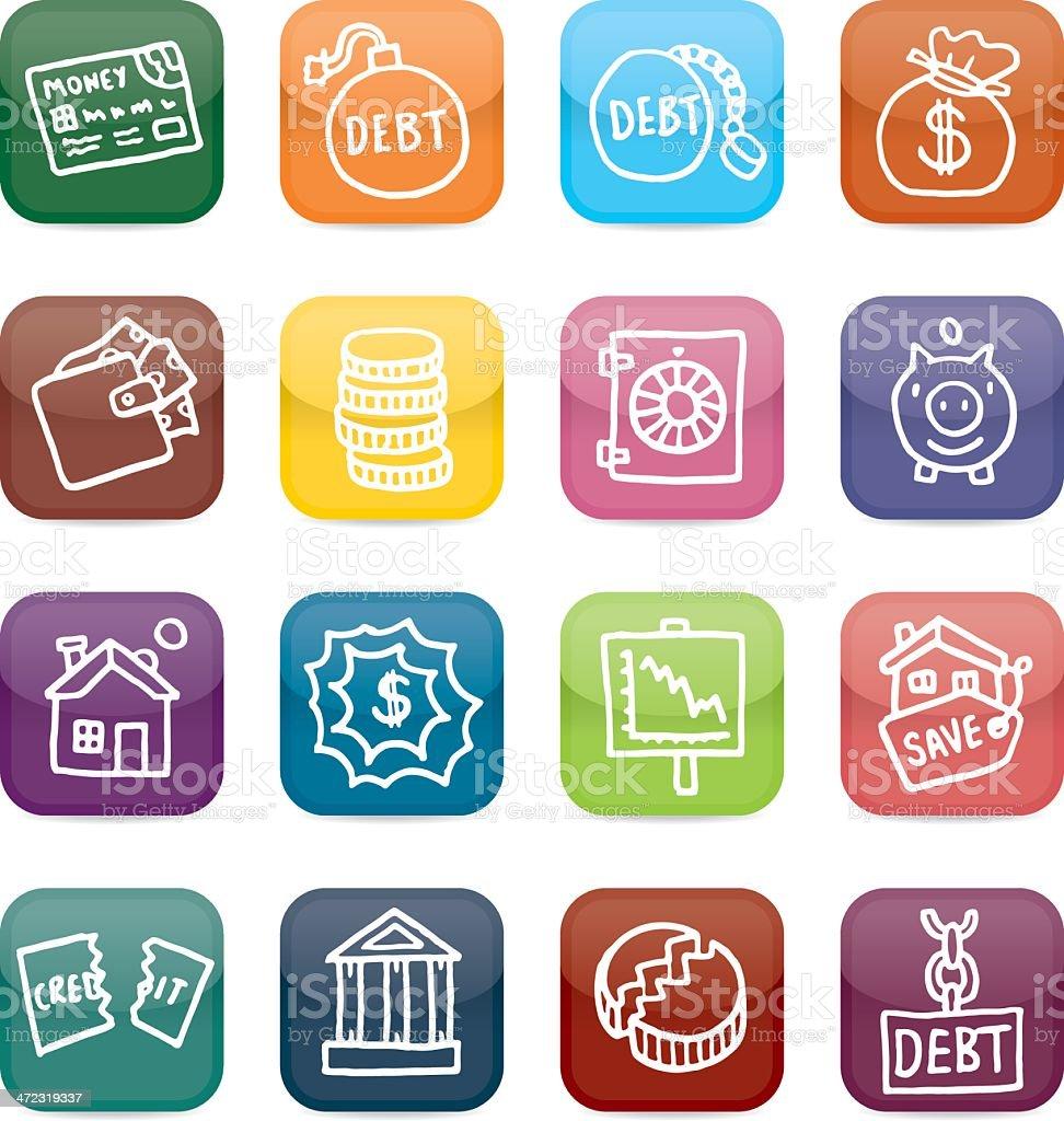 Debt and financial icon shiny blocks vector art illustration