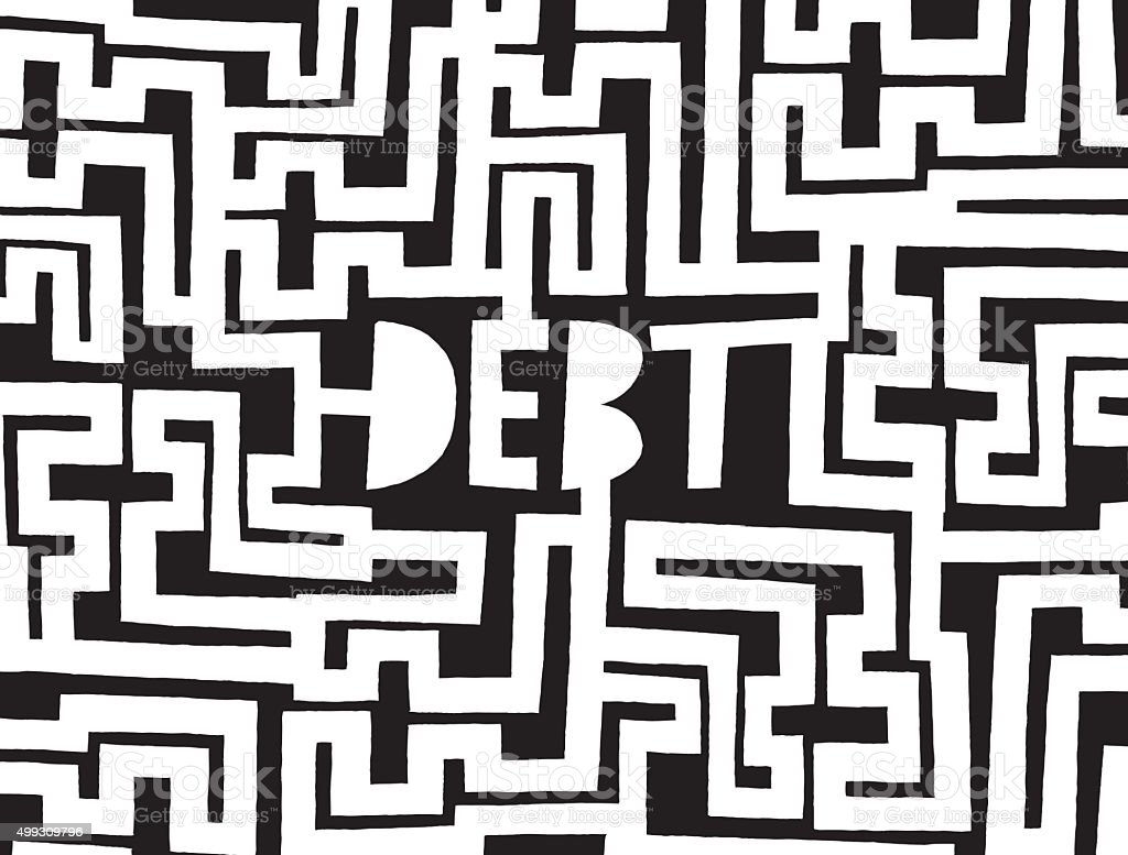 Debt as a complex maze or problem vector art illustration