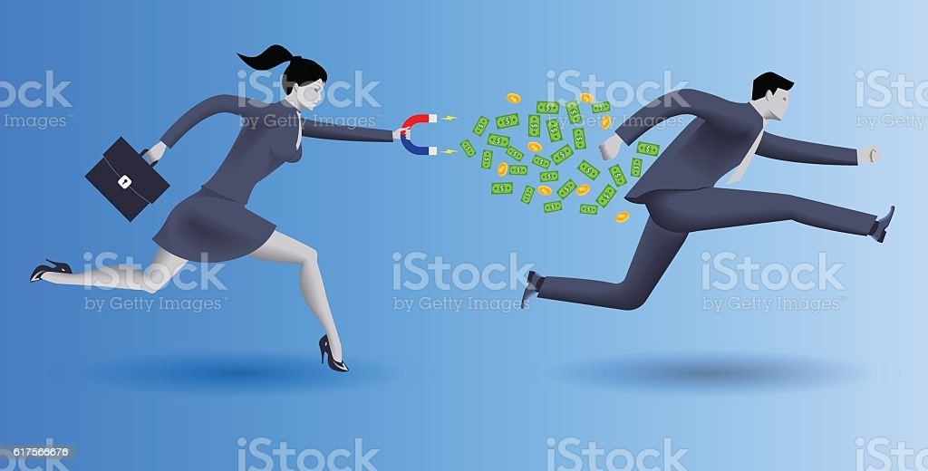 Debt collector business concept vector art illustration