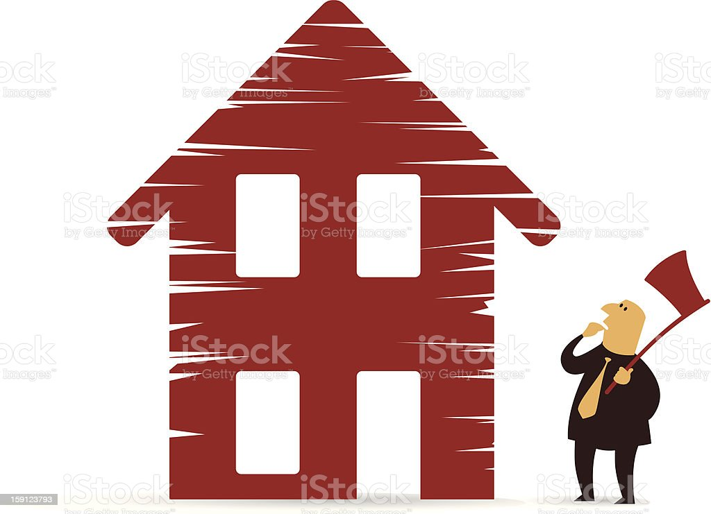 Debt collector on a default home royalty-free stock vector art