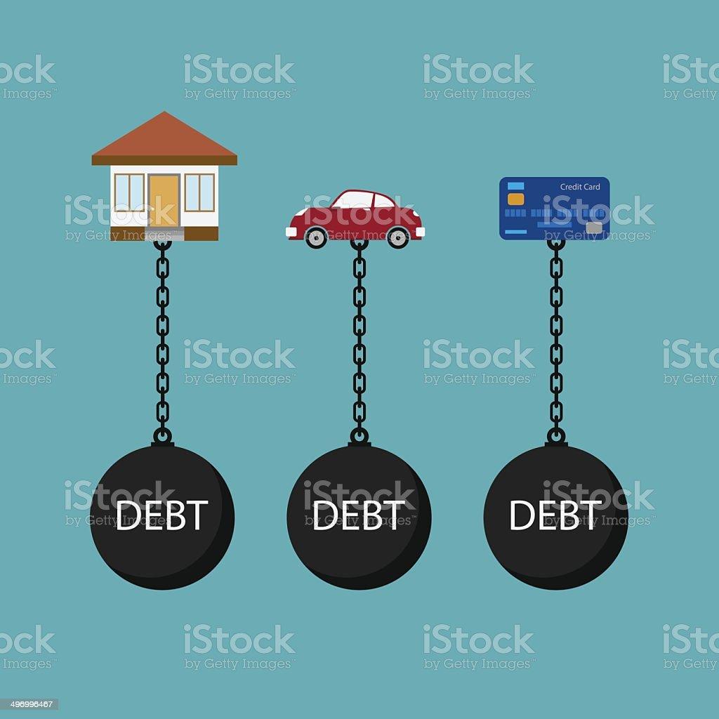 debt concept vector art illustration