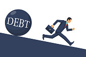 Debt concept. Businessman runs away from big debt. Financial crisis, economic depression, crash financial. Vector illustration flat design. Isolated on white background. Cartoon business people.