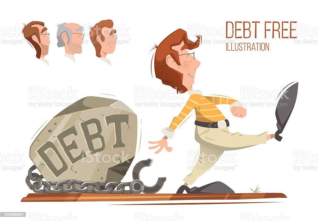Debt free vector art illustration
