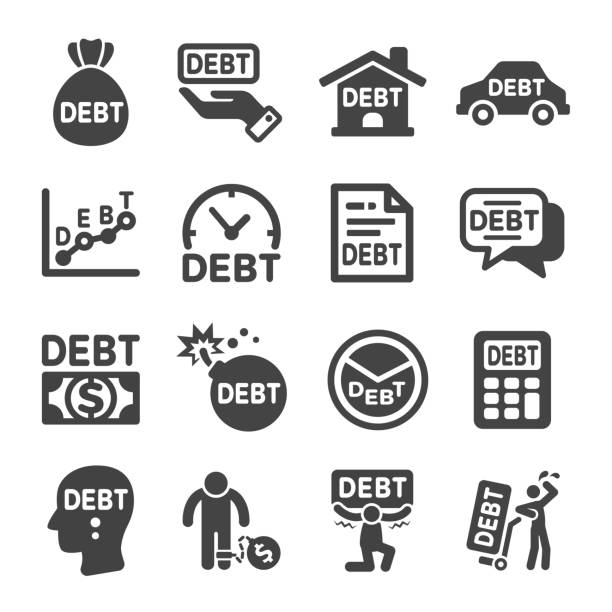 debt icon - bankruptcy stock illustrations, clip art, cartoons, & icons