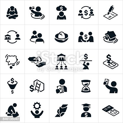 An icon set of debt related concepts. The concepts include credit card debt, financial debt, home debt, borrowing, despair, pressure, drowning in debt, bank lending, debt traps, hope and getting out of debt to name a few.