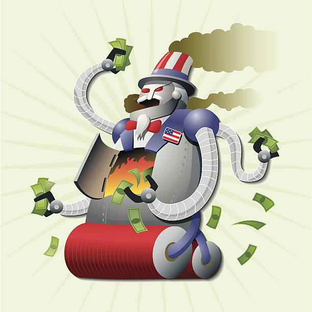 U.S. Debt Robot Monster Uncle Sam, U.S. government debt steamroller robot, burning money for fuel. It's unstoppable!!! JPEG included with download is XXXL (20 in. x 20 in. at 300 dpi). debt ceiling stock illustrations