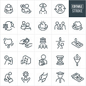A set of debt icons that include editable strokes or outlines using the EPS vector file. The icons include lots of different people in debt. A person with head in hands in despair, person with credit card sinking, debt cloud, debt cycle, person getting a loan, cracked nest egg, handshake, agreement, sinking house, emptying piggybank, paying with cash, mouse trap with dollar sign, hourglass, desperate business man, hope, clasped hands, student debt and a credit card on a mouse trap to name a few.