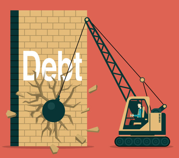 Debt Demolition Ball demolished stock illustrations