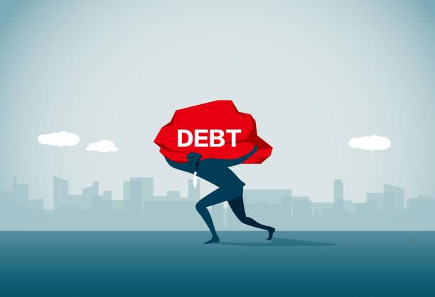 ilustraciones, imágenes clip art, dibujos animados e iconos de stock de deuda - bancarrota