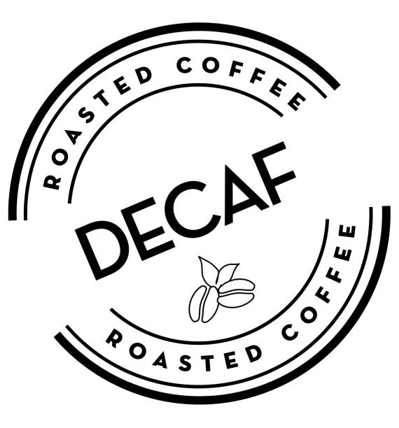 decaf roasted coffee round labels on coffee bean on white background - coffee stock illustrations, clip art, cartoons, & icons