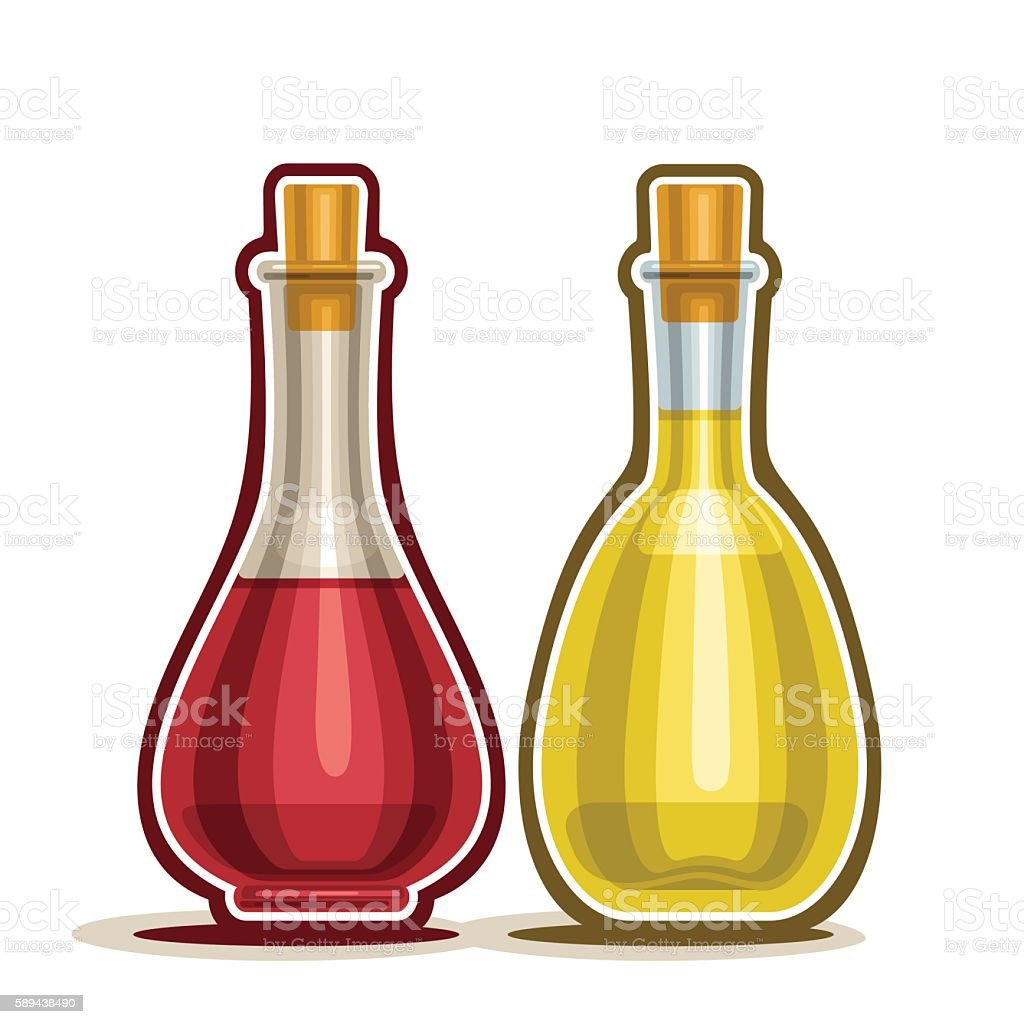 Decanter with Red and White Wine Vinegar vector art illustration