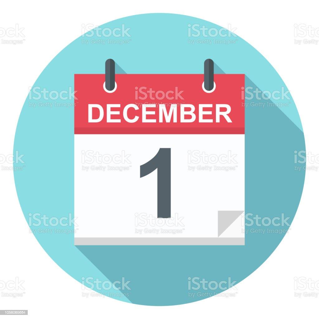 1 december - pictogram van de kalender - Royalty-free 2018 vectorkunst