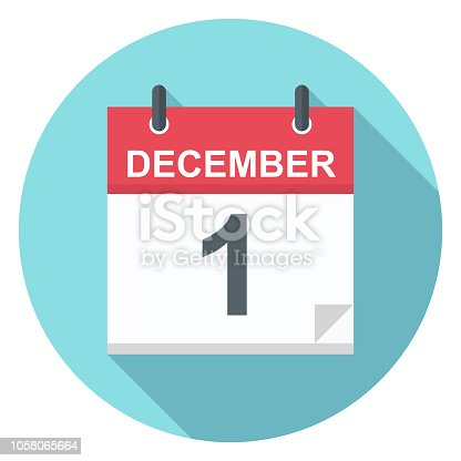 December 1 - Calendar Icon - Vector Illustration