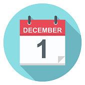 December 1 - Calendar Icon - Vector Illustration