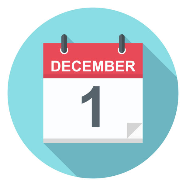 illustrazioni stock, clip art, cartoni animati e icone di tendenza di december 1 - calendar icon - dicembre