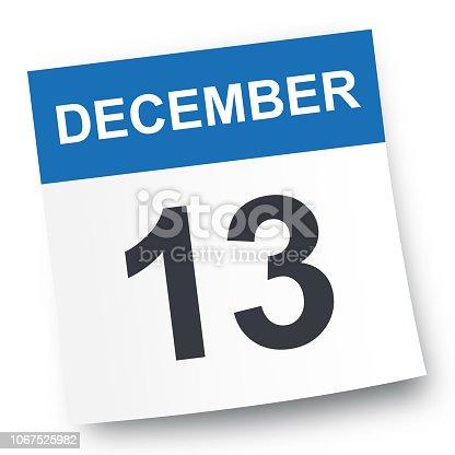December 13 - Calendar Icon - Vector Illustration
