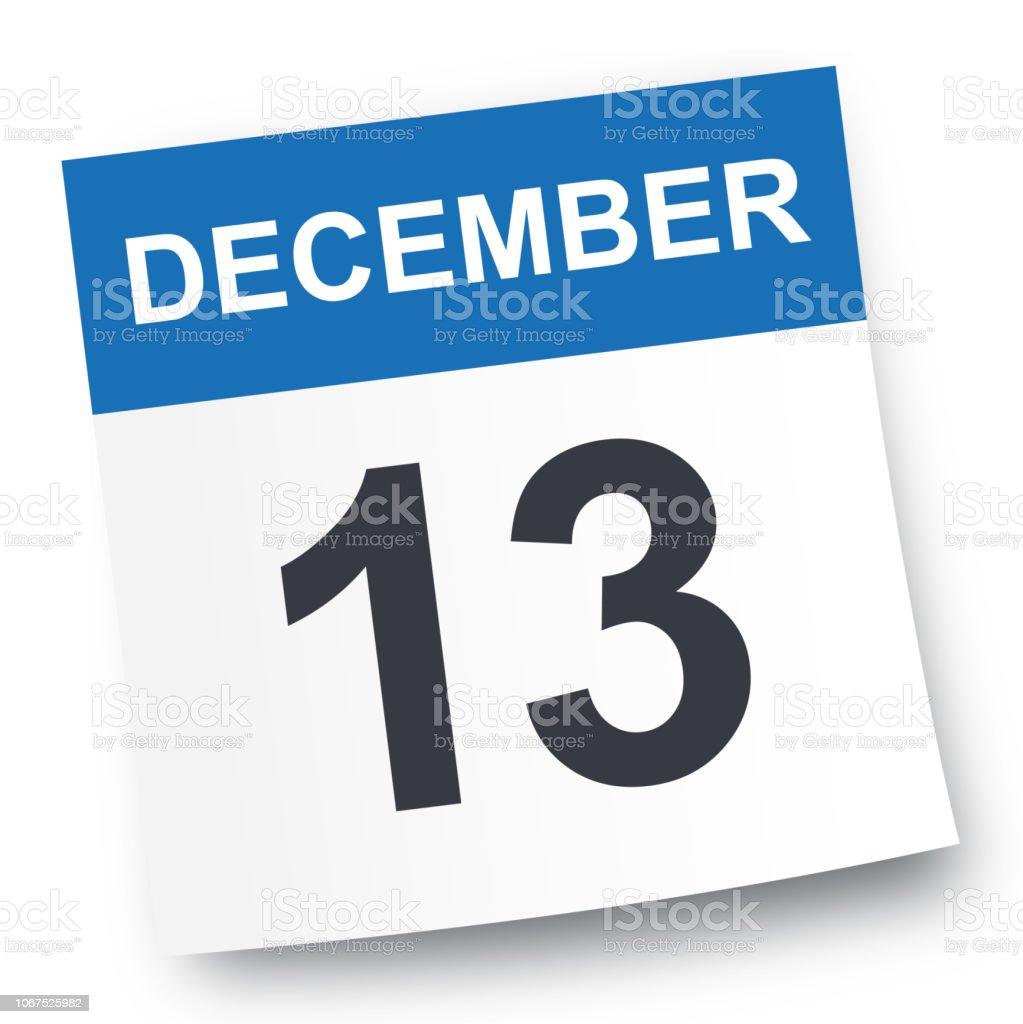 December 13 - Calendar Icon vector art illustration