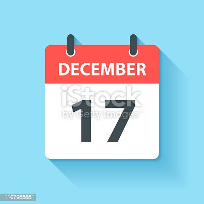 December 17. Calendar Icon with long shadow in a Flat Design style. Daily calendar isolated on blue background. Vector Illustration (EPS10, well layered and grouped). Easy to edit, manipulate, resize or colorize.